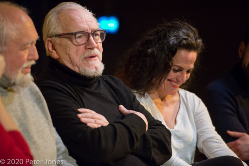 Writer Joshua Sobol, director Brian Cox & leading lady Nicole Ansari at Terri Paddock's post-show Q&A for Sinners at London's Playground Theatre. © Peter Jones