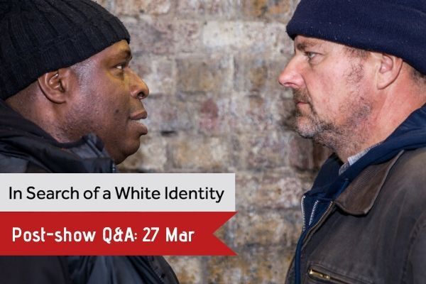 Terri Paddock chairs a post-show Q&A for In Search of a White Identity at London's Tristan Bates Theatre