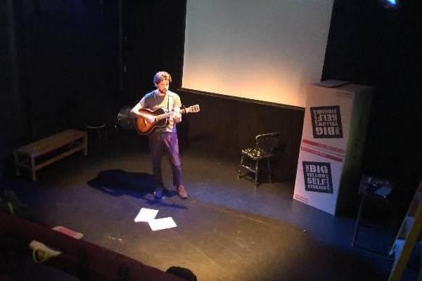 Simon Stanley-Ward rehearsing How I Found & Captured Bigfoot During Lockdown