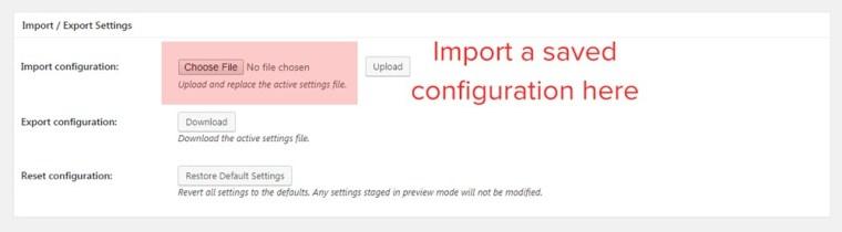 general import export settings