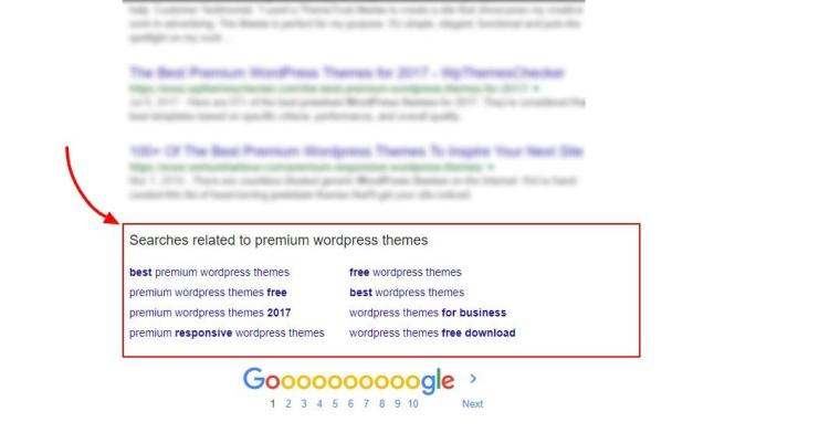related search section in google