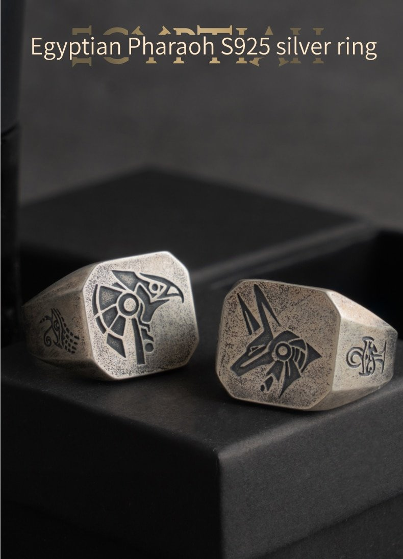 Eye of Horus  Silver rings for man  Vintage  Anubis fashion jewelry  hippop