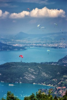 Looking north over Lake Annecy towards Annecy