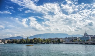 Geneva from the lake with the Saleve behind