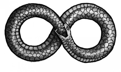 Infinity symbol with snake eating it's tail, the ourubus