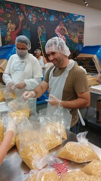 Stephen helping out Team Naked at Oregon Food Bank