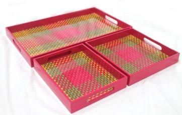 Handmade palmyra trays