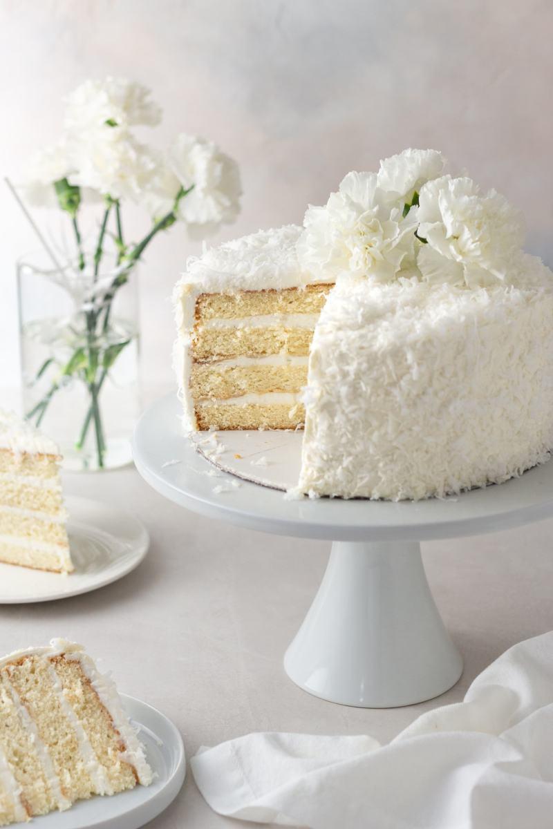 Coconut Layer Cake with Swiss Meringue Buttercream