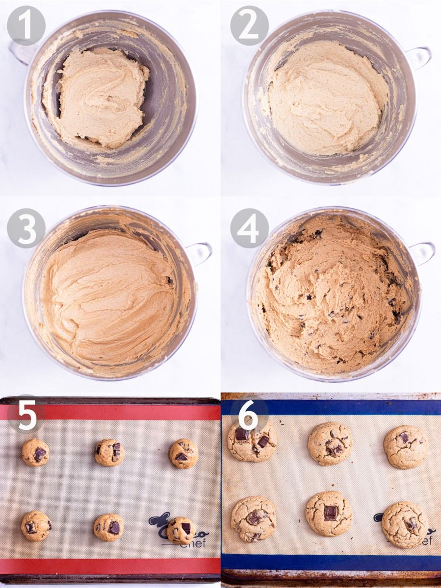 Step by step process of making peanut butter chocolate chip cookies: cream butter and sugar, add eggs, add peanut butter, add dry ingredients and chocolate, shape and bake.