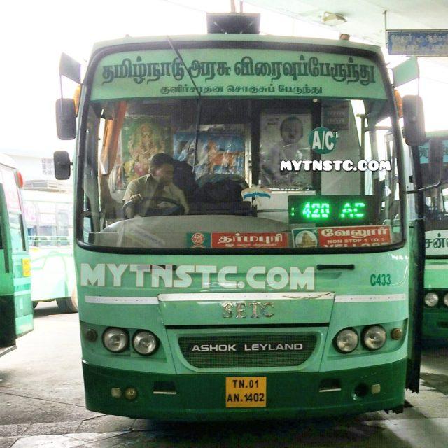 TN 01 AN 1402 SETC 420 AC Chennai to Dharmapuri