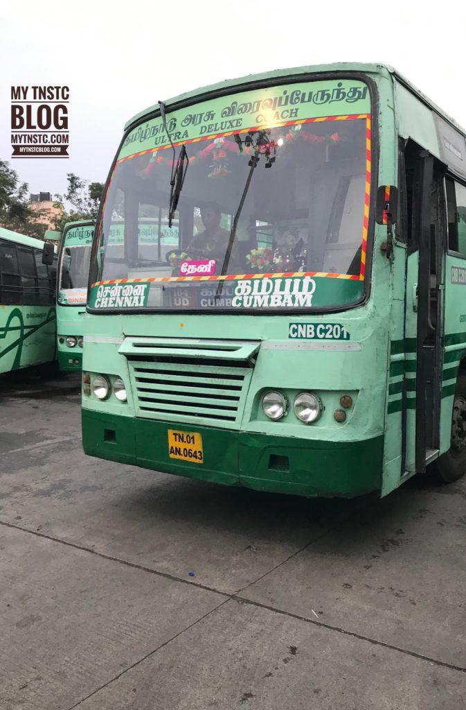 Cumbam to Chennai SETC Non AC Bus Service 172 UD via Theni Trichy