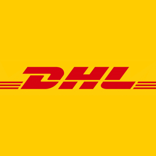 Logo des DHL Paketservice, den wir in unserer Filiale Tommis Laden in Frankfurt am Main anbieten.