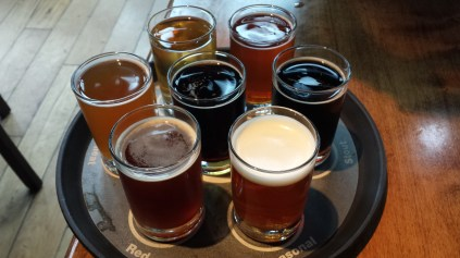7 beers on a tray