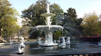 a fountain in a square