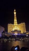 Replica Eiffel Tower brightly lit up