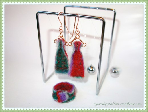 Needle Felted Earrings and Ring