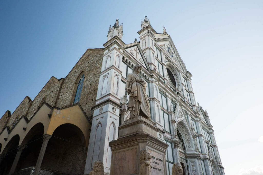 The Façade of Santa Croce and Dante statue
