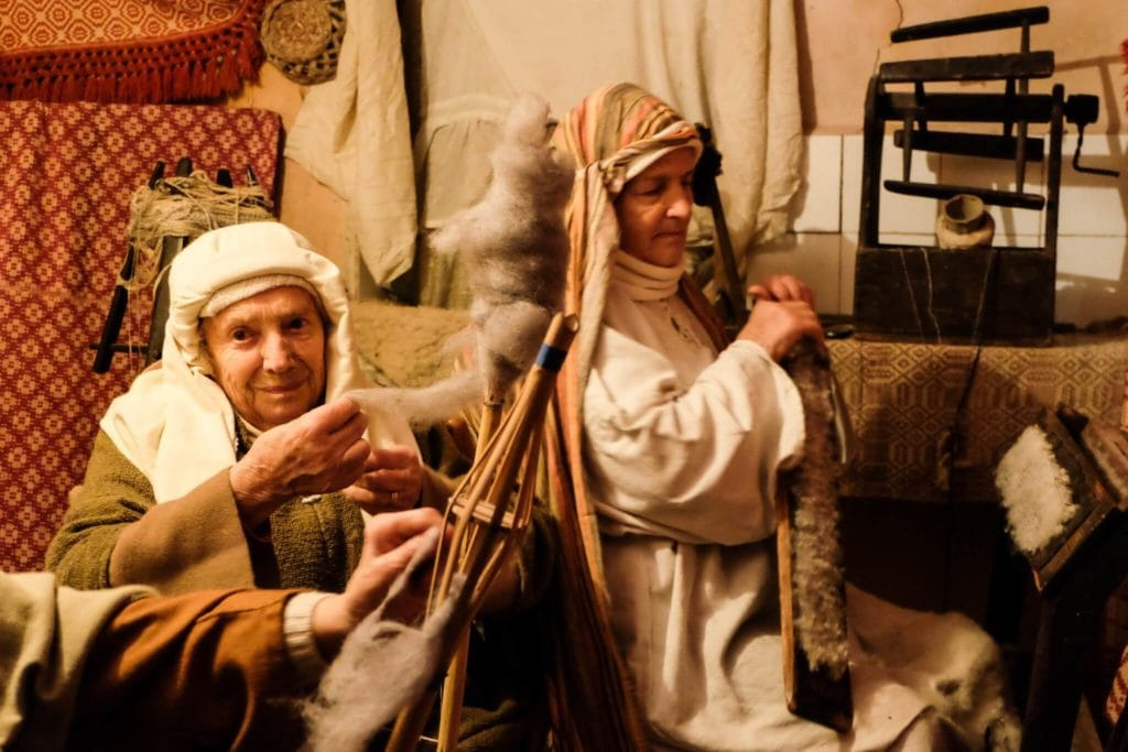 nativity scene of equi terme wool textile workers