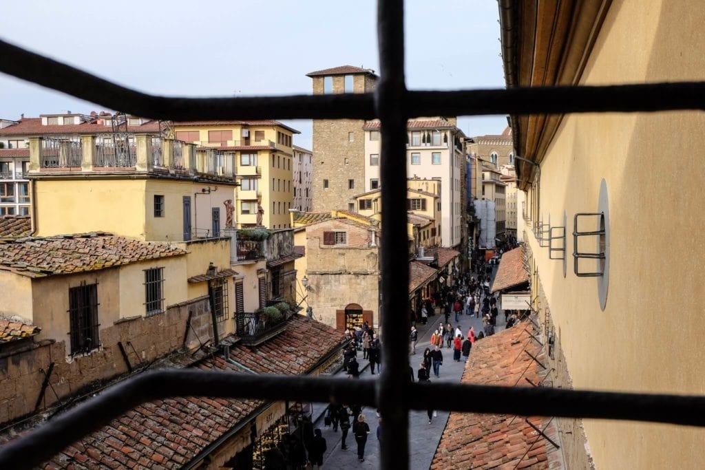 view on Pontevecchio from Vasari Corridor Florence