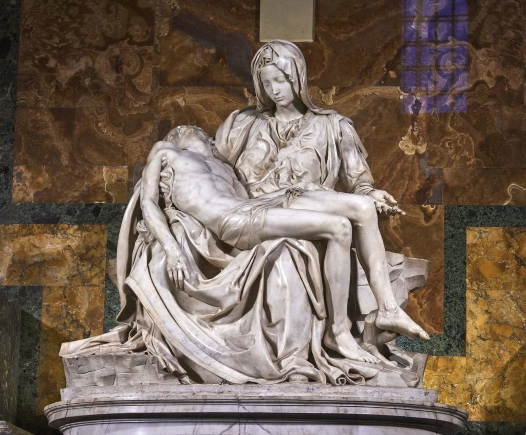 Michelangelo Pieta St Peters basilica white marble quarries of carrara