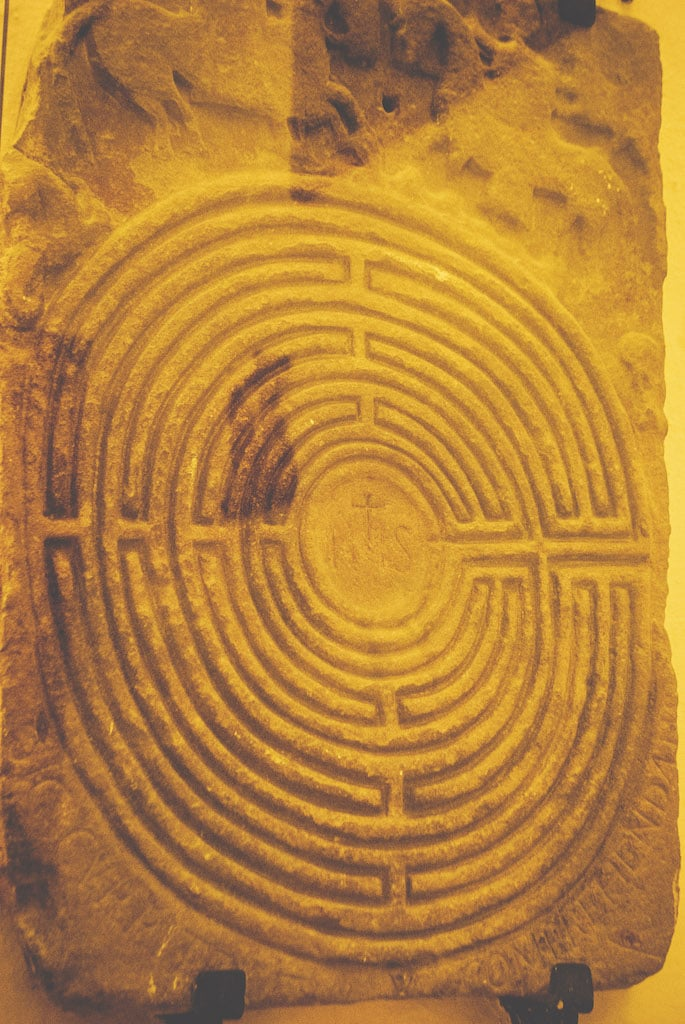 Labyrinth carved into sandstone