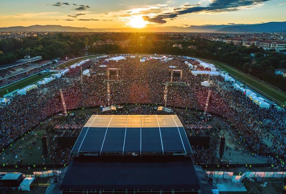 view of Firenze Rocks stage taken by a drone
