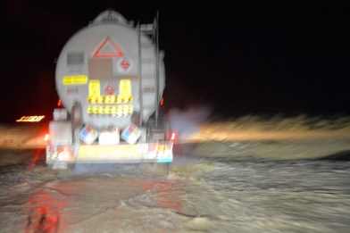 Tanker splashing through the floods...the road was bumpy!