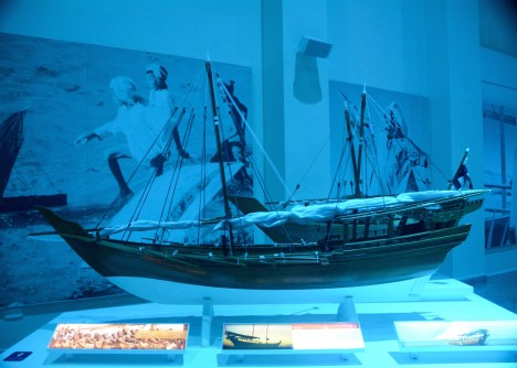 Model of square hulled dhow...