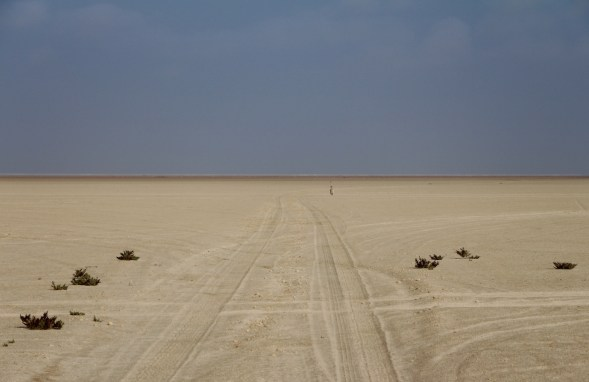 Extremely flat, Sabkha (salt) flats at Bar Al Hikmann, Oman...