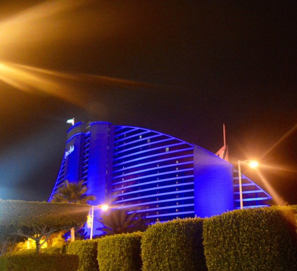 The Jumeirah Beach hotel, designed as a wave, curving up and over....