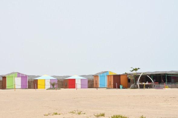 Masirah beach camp, funky colours and whalebone on this vast beach....
