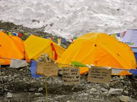Expedition tents, at Everest Base Camp.