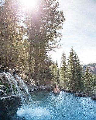 Hot flowing spring water