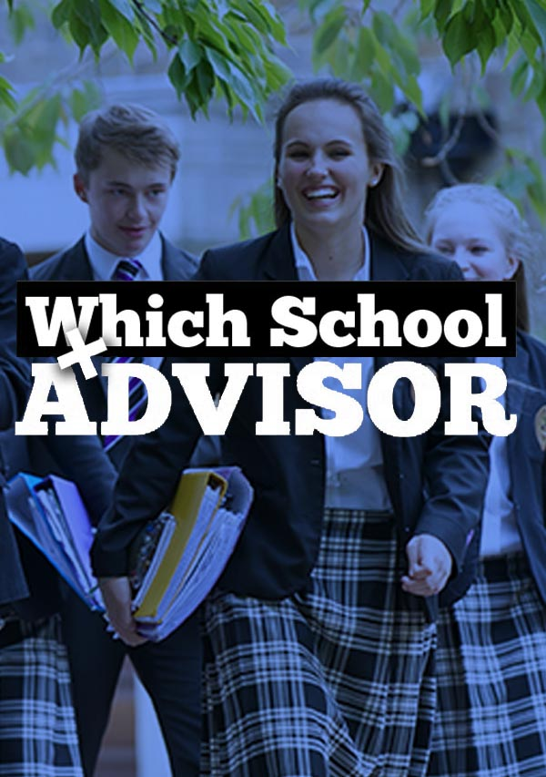 The logo for Which School advisor, showing students in their school uniforms