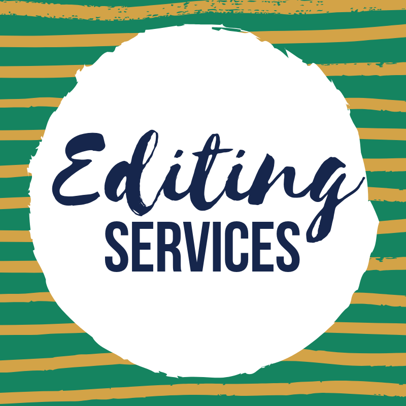 Graphic: Green and gold stripes. Text: Editing Services