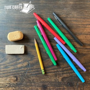 Photo by Meghan Pinson of erasers, pencil, and felt-tip pens with My Two Cents Editing watermark