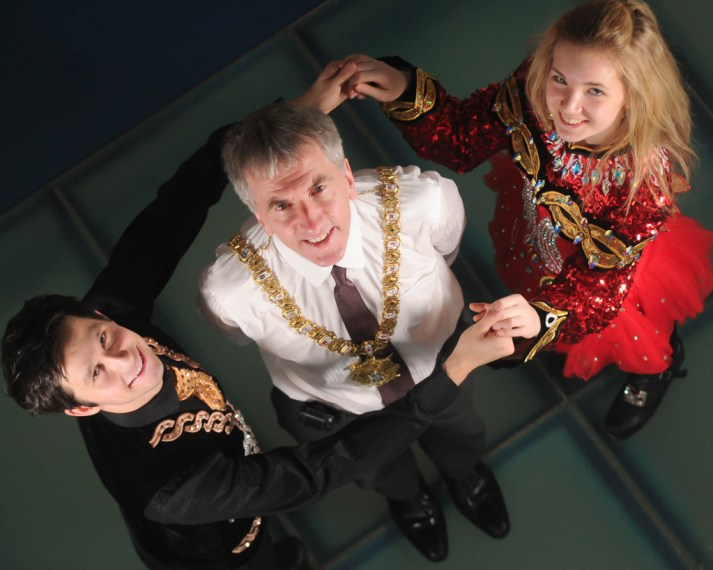 Belfast Lord Mayor Councillor Mairtin O'Muilleor is pictured with Irish  Dancers Daithi Fisher (left) and Tara McCoy at the launch of the All Ireland Dancing Championships 2013 at Belfast Waterfront.