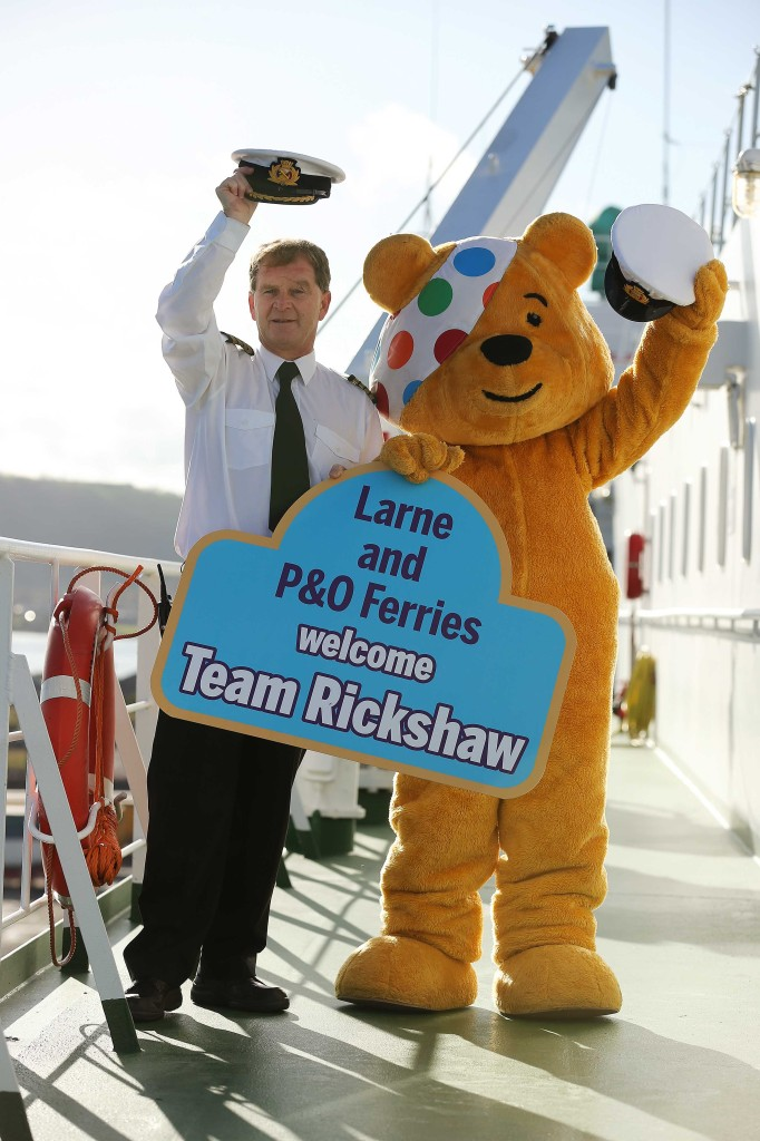 Master of P&O Ferries European Highlander Patrick Blackwell-Smyth pictured with Pudsey Bear as they gear up to welcome The One Show's Alex Jones to the Port of Larne this Friday (8th November) as part of the show's Rickshaw Challenge for BBC Children In Need. This eight-day relay challenge will see Alex Jones, plus five young people and their parents who've been supported by the charity, ride in a rickshaw approximately 700 miles across all four nations, in a bid to raise as much money as possible to help disadvantaged children and young people across the UK.  'Team Rickshaw' will be travelling with P&O Ferries across the Irish Sea before they embark upon their journey through Scotland, west of England and into Wales, finishing at BBC's Elstree Studios live on the BBC Children in Need Appeal Night on Friday 15th  November