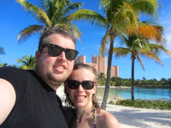 Hubby and I at Atlantis, after swimming with the dolphins