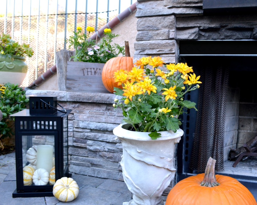 Decorating Lanterns For Fall   My Uncommon Slice of Suburbia grab those lanterns laying around   add some candles and gourds and you are  set for