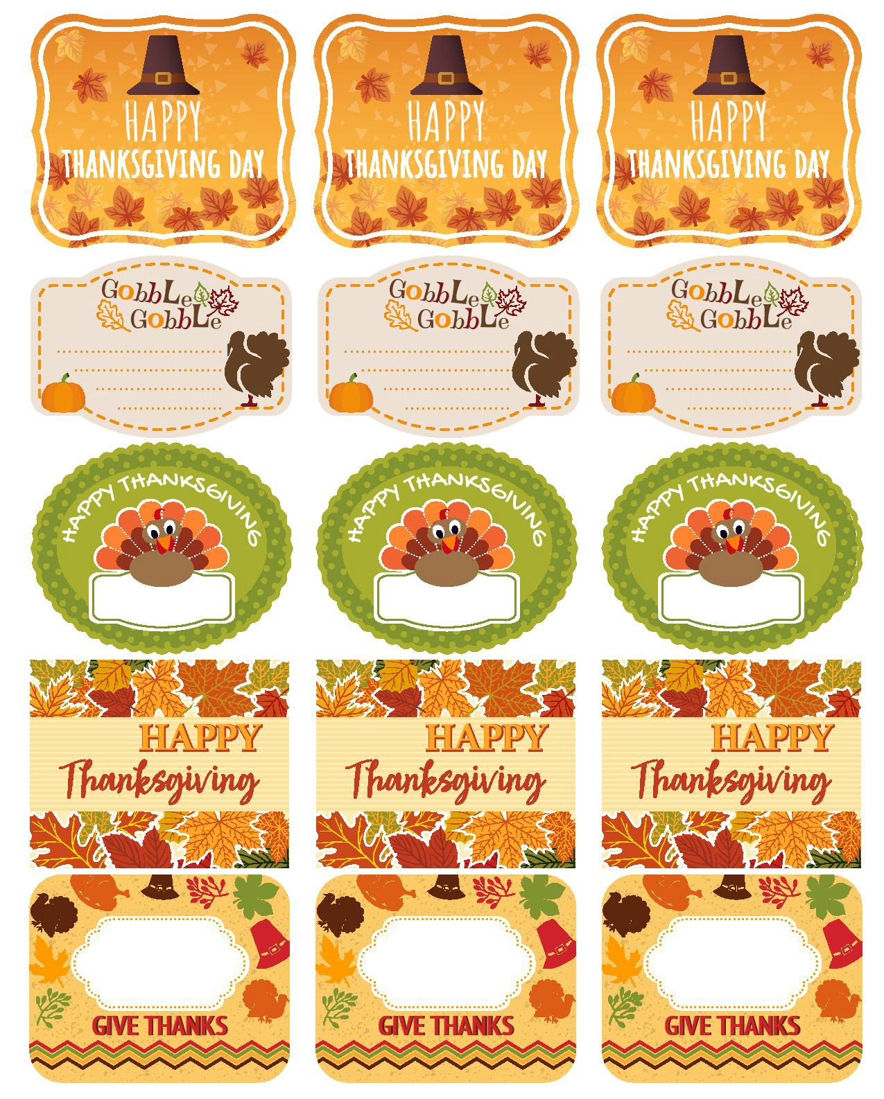 Free And Editable Thanksgiving Printables