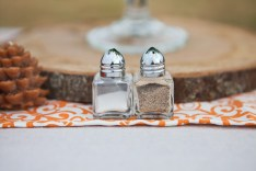 Outdoor wedding reception, fall, pinecones, orange and white, salt & pepper shakers, Urban Petals, rustic,