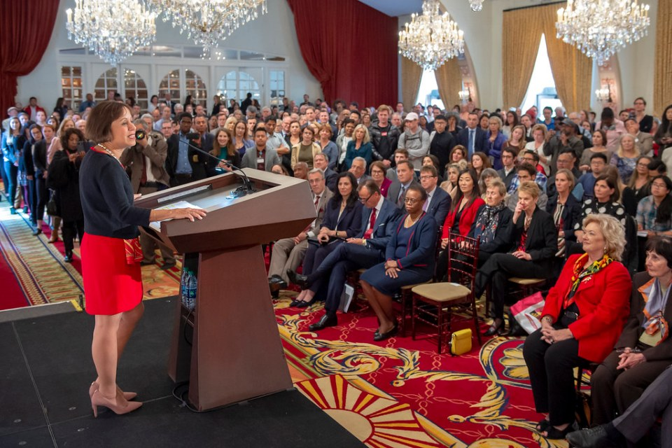 USC President-elect Carol L. Folt addresses the USC community and the media after her appointment was announced, March 20, 2019. (Photo/Gus Ruelas)