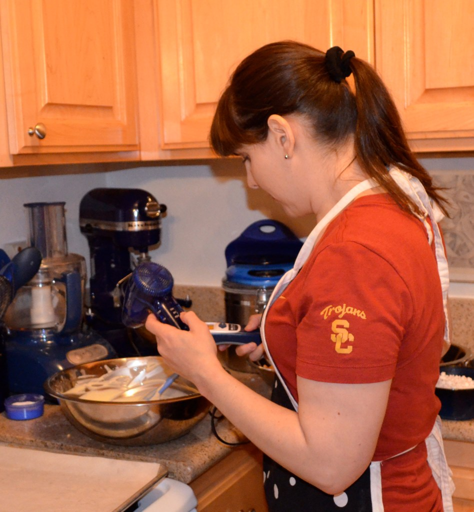 Shana Elson making chocolate in her kitchen.