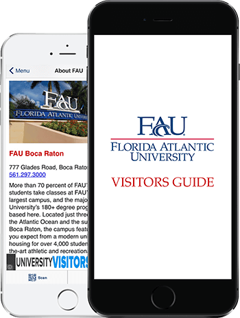 Visit FAU App on 2 iPhones