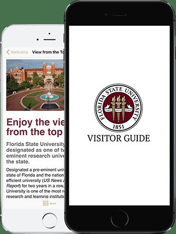 Visit FSU App on 2 iPhones