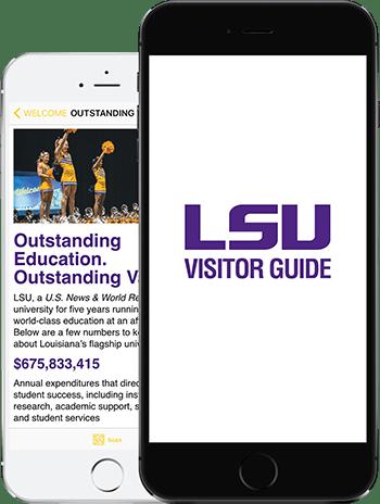 Visit LSU App on 2 iPhones