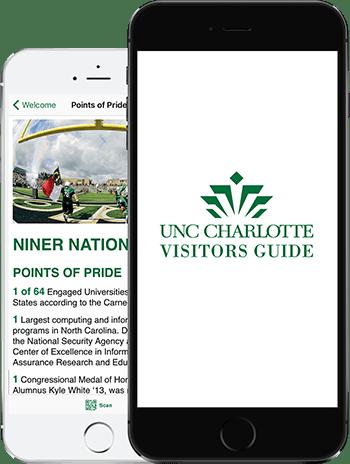 Visit UNC Charlotte App on 2 iPhones