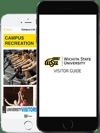 Visit Wichita App on 2 iPhones