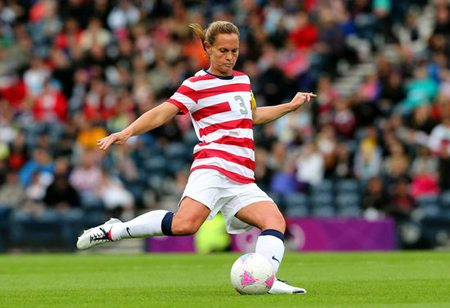 Christie Rampone playing soccer at the Olympics